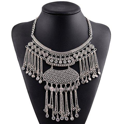 Chic Rhinestone Hollow Out Link-Chain Flower Pendant Necklace For Women - SILVER