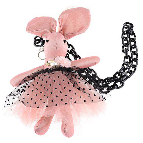 Cute Faux Pearl Lace Rabbit Shape Sweater Chain For Women - PINK