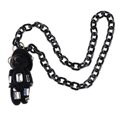 Vintage Faux Crystal Rectangle Bear Shape Sweater Chain For Women - BLACK