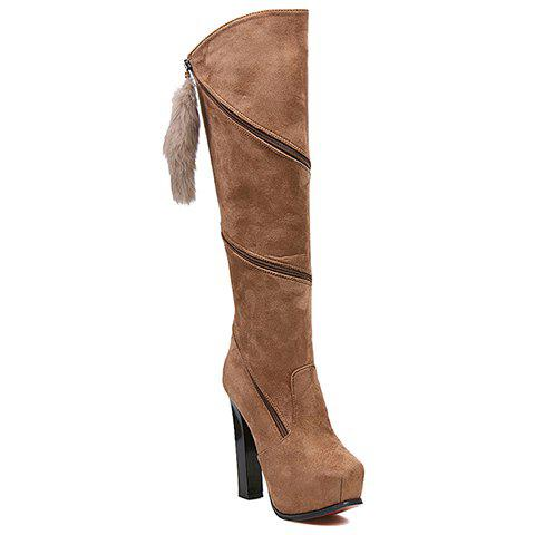 Fashion Twisted Zipper and Suede Design Knee-High Boots For Women - BROWN 40