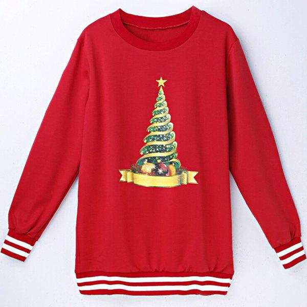Christmas Hat Long Sleeve Round Neck Sweatshirt For Women - RED XL