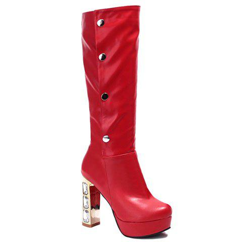 Elegant Rhinestones and PU Leather Design Mid-Calf Boots For Women - RED 38