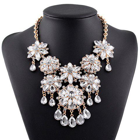 Fake Crystal Floral Water Drop Tassel Necklace - WHITE