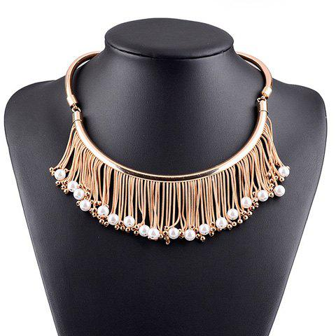 Faux Pearl Beads Fringed Pendant Necklace - GOLDEN