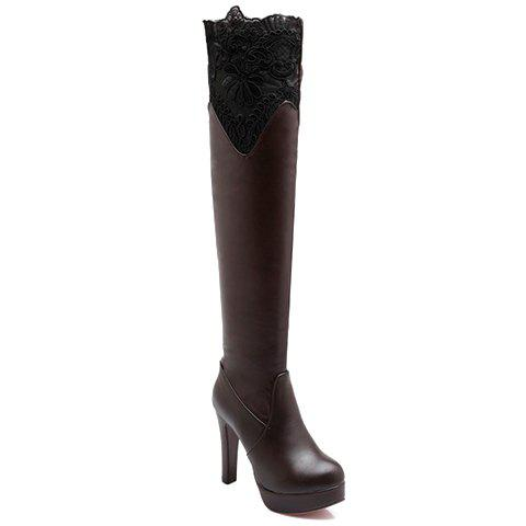 Simple Lace and PU Leather Design Thigh Boots For Women - DEEP BROWN 35