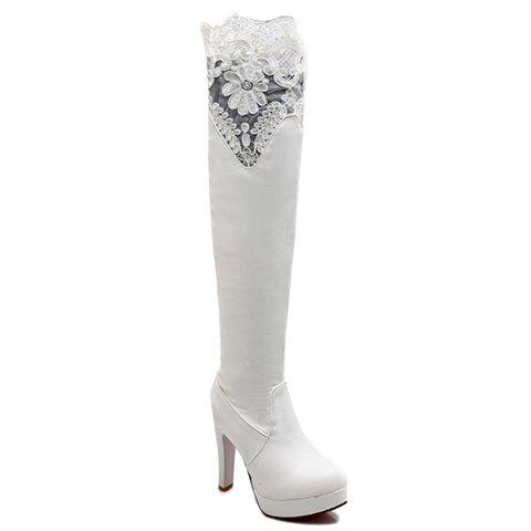 Simple Lace and PU Leather Design Thigh Boots For Women - WHITE 36