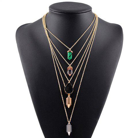 Faux Resin Multilayered Pendant Sweater Chain - GOLDEN