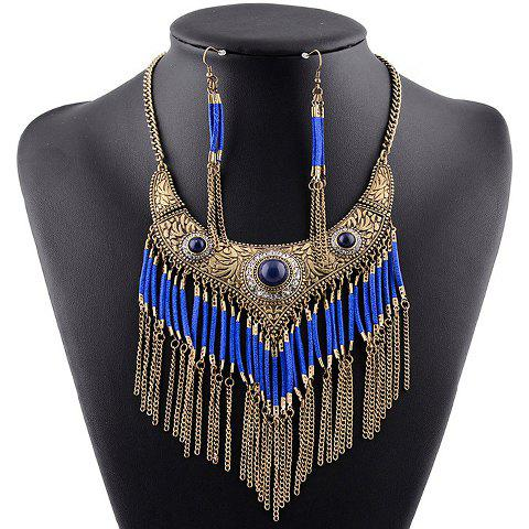 A Suit of Graceful Rhinestone Hollow Out Fox Necklace and Earrings For Women -  BLUE