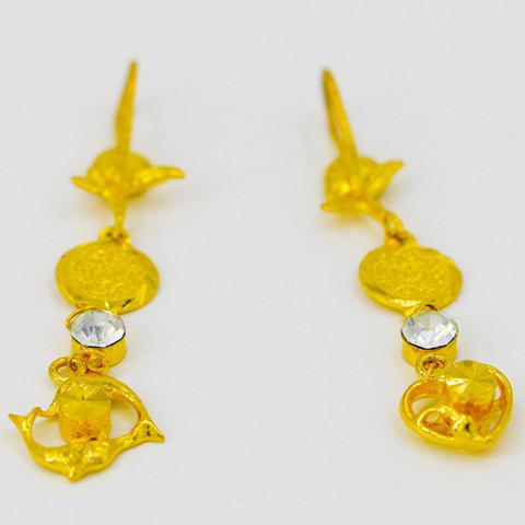 Pair of Noble Hollow Out Drop Earrings For Women - GOLDEN
