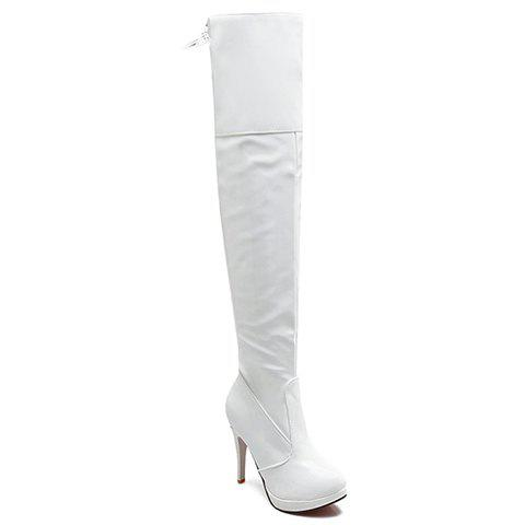 Elegant Patent Leather and Stiletto Heel Design Thigh Boots For Women - WHITE 34