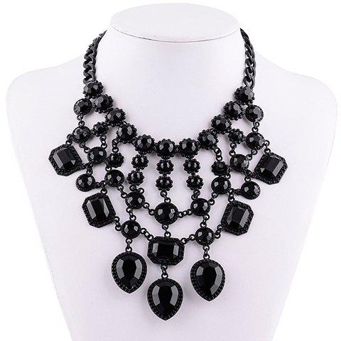 Stunning Solid Color Faux Gemstone Rectangle Hollow Out Necklace For Women - BLACK