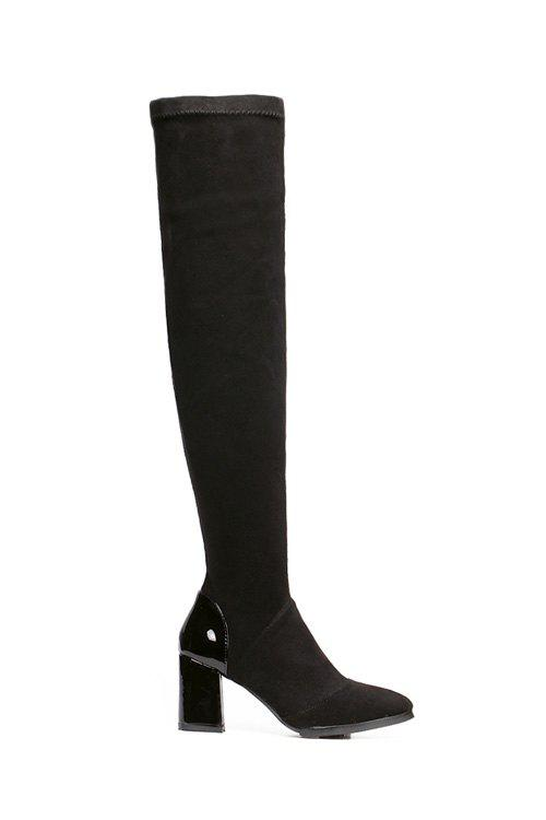 Concise Flock and Pointed Toe Design Women's Thigh Boots - BLACK 37