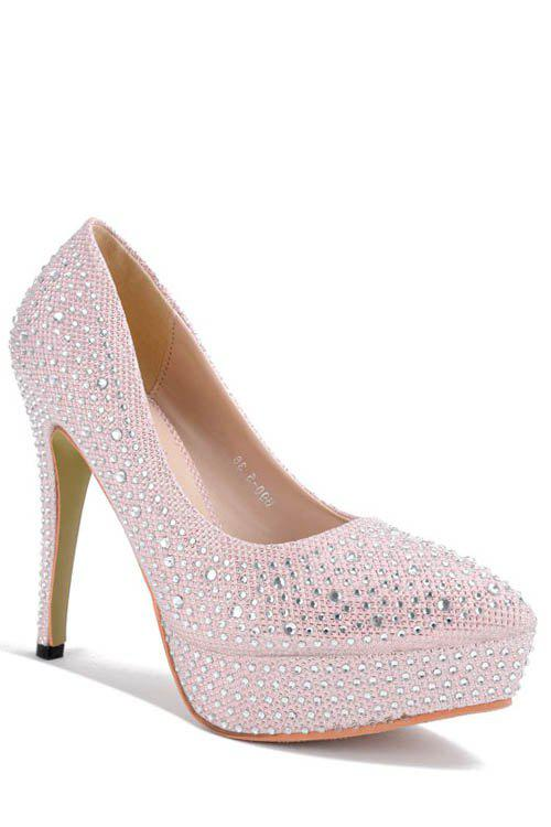 Dazzling Rhinestones and Pointed Toe Design Women's Pumps - PINK 38