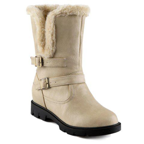 Stylish Buckles and Fold Over Design Mid-Claf Boots For Women - APRICOT 37