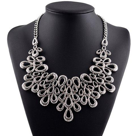 Ethnic Hollow Out Water Drop Necklace - SILVER