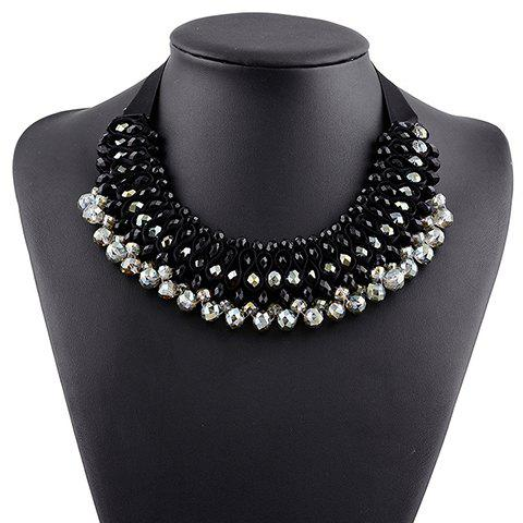 Beads Hollow Out Statement Necklace - BLACK