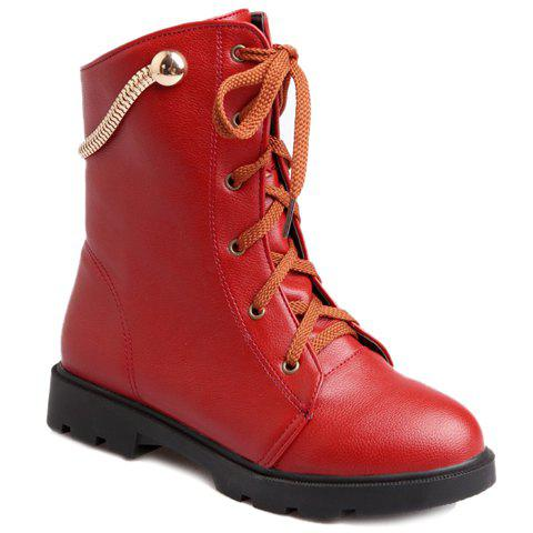 Fashionable Flat Heel and Metallic Design Short Boots For Women - RED 35