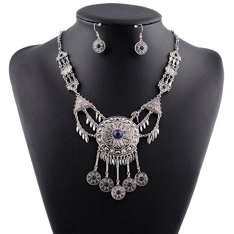 Buy Suit Ethnic Faux Crystal Tassel Necklace Earrings Women BLUE