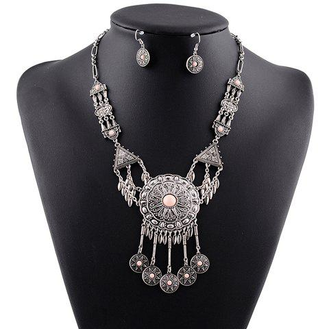 A Suit of Vintage Faux Crystal Tassel Necklace and Earrings For Women - PINK
