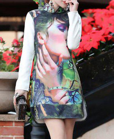 Elegant Stand-Up Collar Long Sleeve Slimming Printed Slit Women's Dress - COLORMIX S