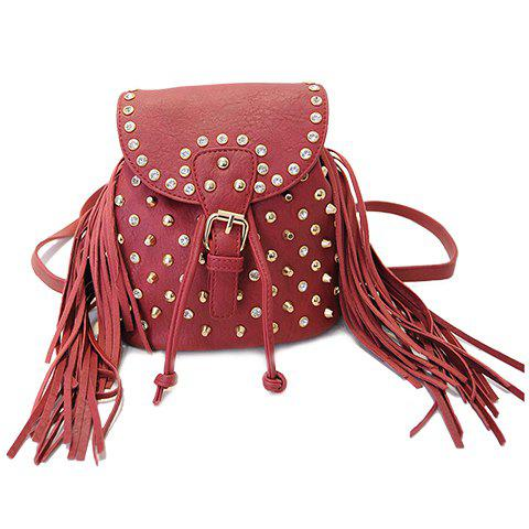 Fashionable Fringe and Buckle Strap Design Satchel For Women - RED