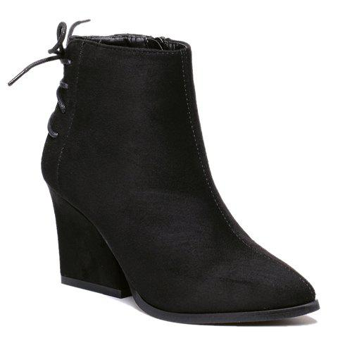 Simple Pointed Toe and Criss-Cross Design Women's Short Boots - 34 BLACK