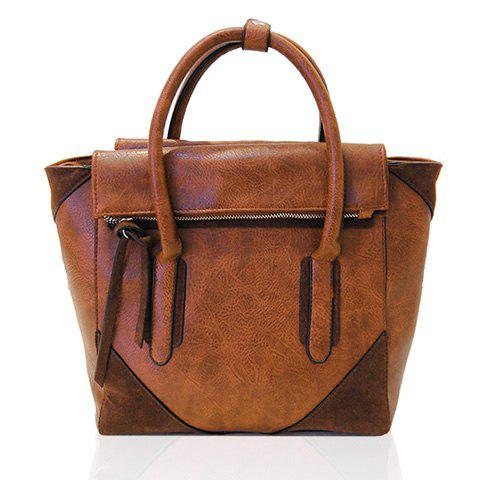 Fashionable Zipper and Splicing Design Tote Bag For Women - BROWN