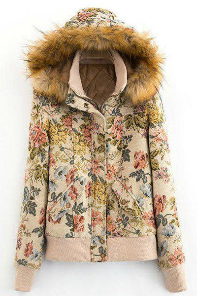 Preppy Style Floral Printed Faux Fur Hooded Long Sleeve Coat For Women - COLORMIX L