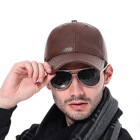 Stylish Solid Color PU Baseball Cap For Men