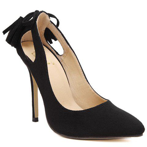 Trendy Tassels and Holow Out Design Pumps For Women - BLACK 37
