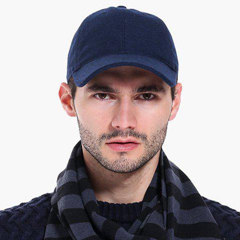 Stylish Solid Color Winter Baseball Cap For Men - CADETBLUE
