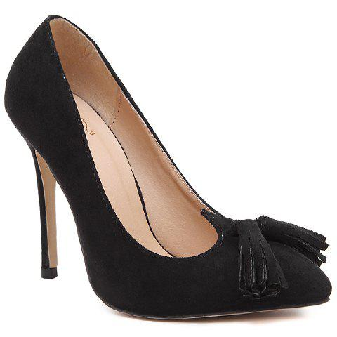 Sexy Tassels and Pointed Toe Design Pumps For Women - BLACK 40