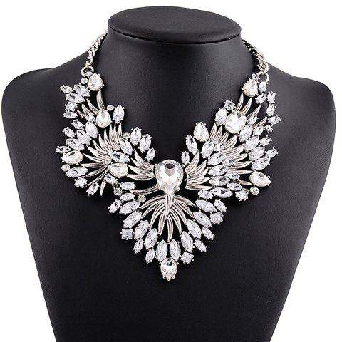Faux Crystal Hollow Out Necklace - WHITE