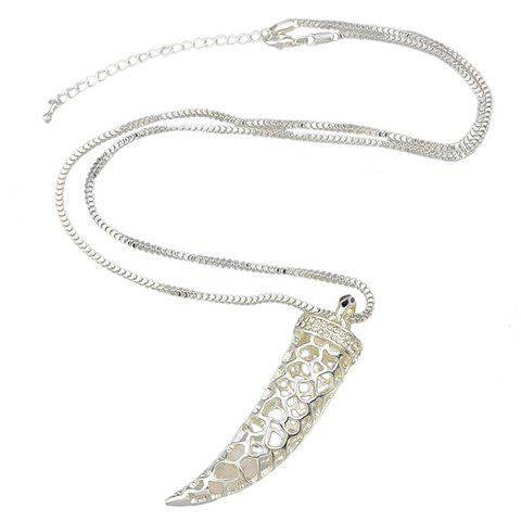 Chic Rhinestoned Horn Shape Pendant Sweater Chain For Women -  SILVER
