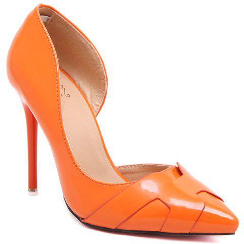 Stylish Solid Colour and Stiletto Heel Design Pumps For Women - ORANGE 38
