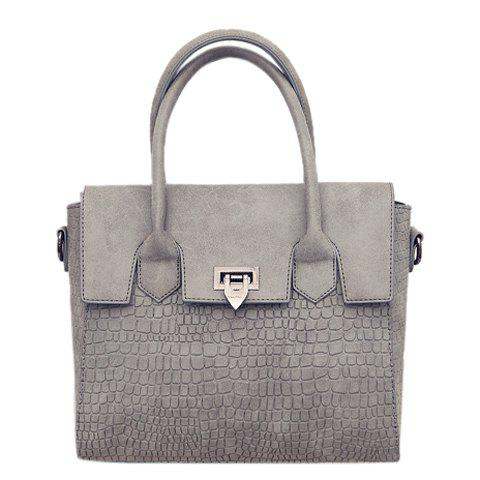 Trendy Hasp and Embossing Design Tote Bag For Women - GRAY