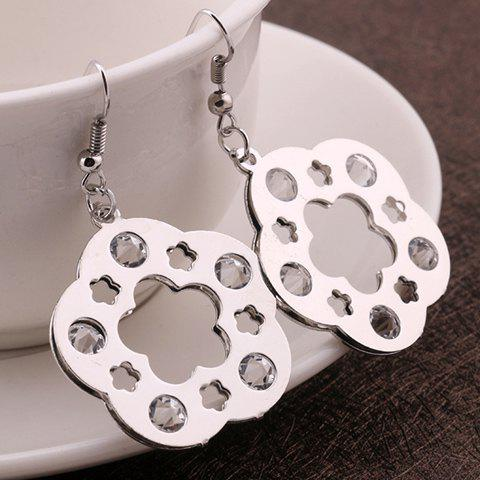 Pair of Fashionable Solid Color Wintersweet Shape Earrings For Women - SILVER