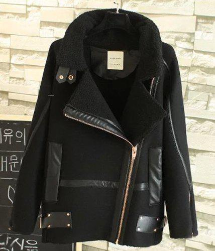 Chic Black Turn-Down Collar Faux Leather Spliced Velour Coat For Women