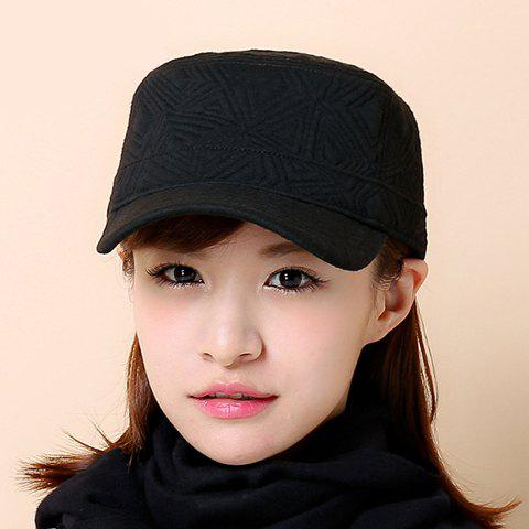 Chic Solid Color Women's Geometry Military Hat - BLACK