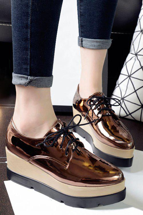 Preppy Patent Leather and Solid Color Design Women's Platform Shoes - BROWN 36