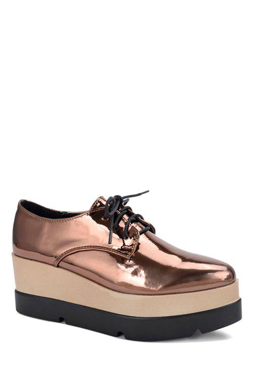 Preppy Patent Leather and Solid Color Design Women's Platform Shoes - BROWN 35