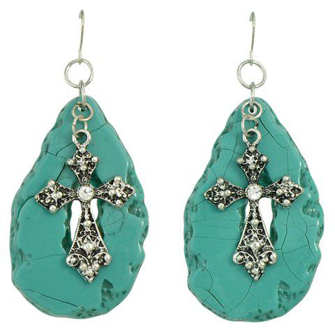 Pair of Delicate Rhinestone Cross Shape Hollow Out Earrings For Women - SILVER