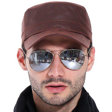 Stylish Simple Flat Top Military Hat For Men - WINE RED
