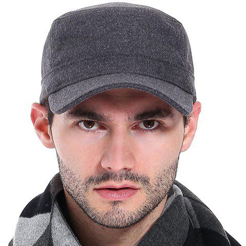 Stylish Solid Color Flat Top Men's Casual Military Hat - DEEP GRAY