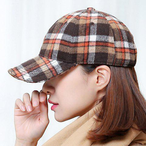 Chic Tartan Pattern Women's Winter Baseball Cap - KHAKI