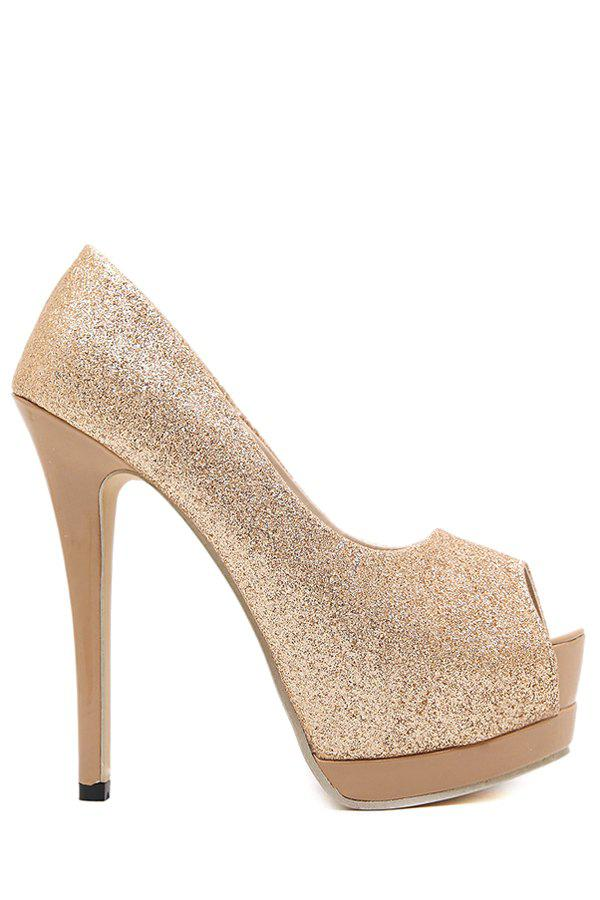 Sexy Sequined Cloth and Platform Design Women's Peep Toe Shoes - CHAMPAGNE 35