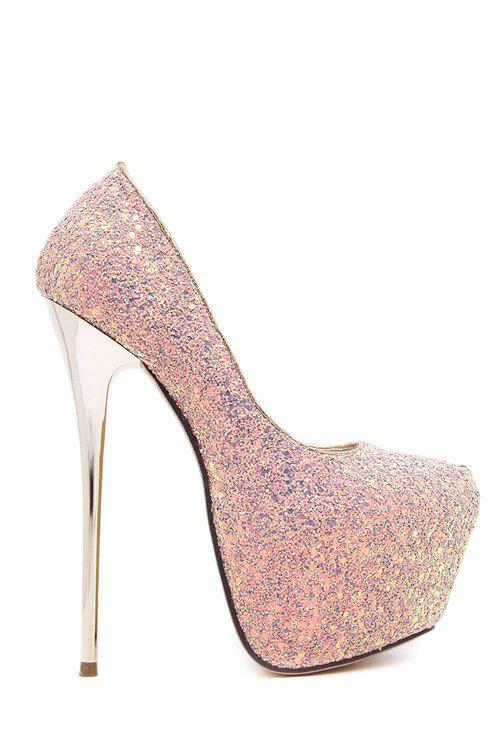 Party Sequined Cloth and Stiletto Heel Design Women's Pumps - PINK 36