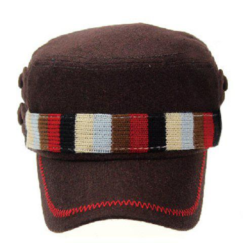 Stylish Multicolor Striped Knitted Strappy Embellished Winter Military Hat For Men - COFFEE