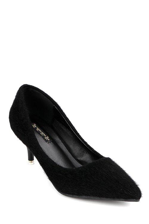 Concise Pointed Toe and Flock Design Women's Pumps - BLACK 38
