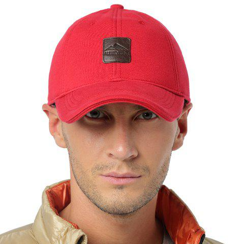 Stylish PU Label Embellished Solid Color Baseball Cap For Men - RED